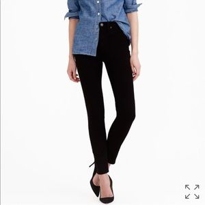 "J. Crew 9"" high-rise toothpick jean in black, NWT"